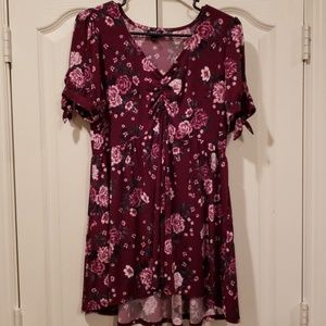 Torrid wine colored floral blouse